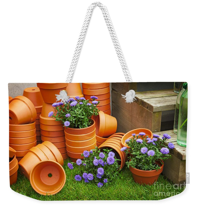 Wood Weekender Tote Bag featuring the photograph Terracotta Flower Pots by Sophie McAulay
