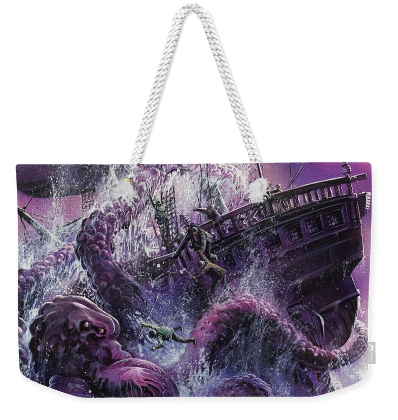 Fear; Ship; Sea Monster; Wave; Ocean; Water; Purple; Disaster; Mystery; Legend; Sea Monster; Beast; Tentacles; Mast; Sail; Pieuvre; Geante; Danger; Perilous; Purple Weekender Tote Bag featuring the painting Terror From The Deep by Oliver Frey