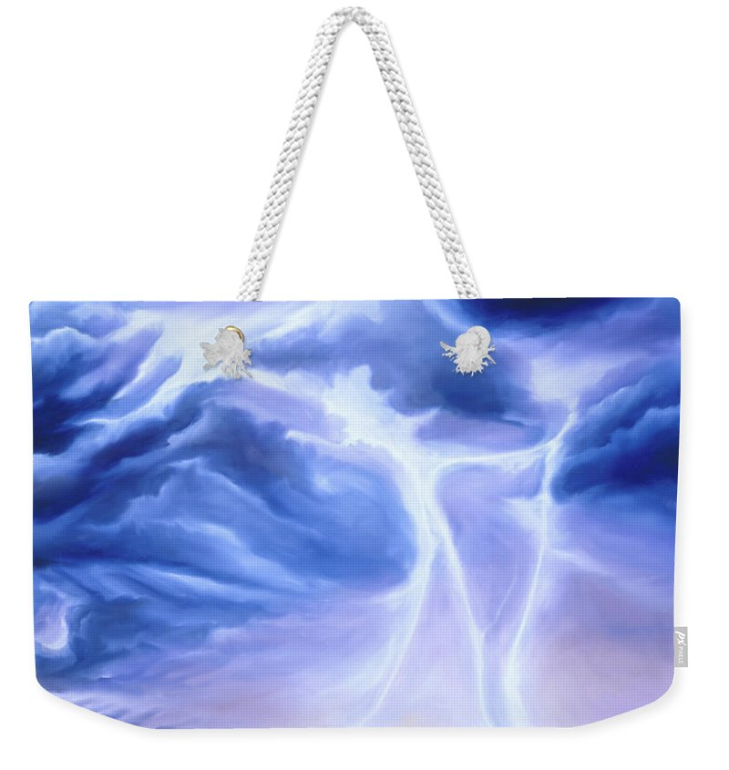 Marsh Weekender Tote Bag featuring the painting Tesla by James Christopher Hill