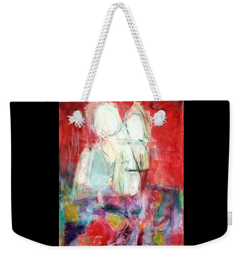 Red Weekender Tote Bag featuring the painting Tete-a-tete by Patricia Byron