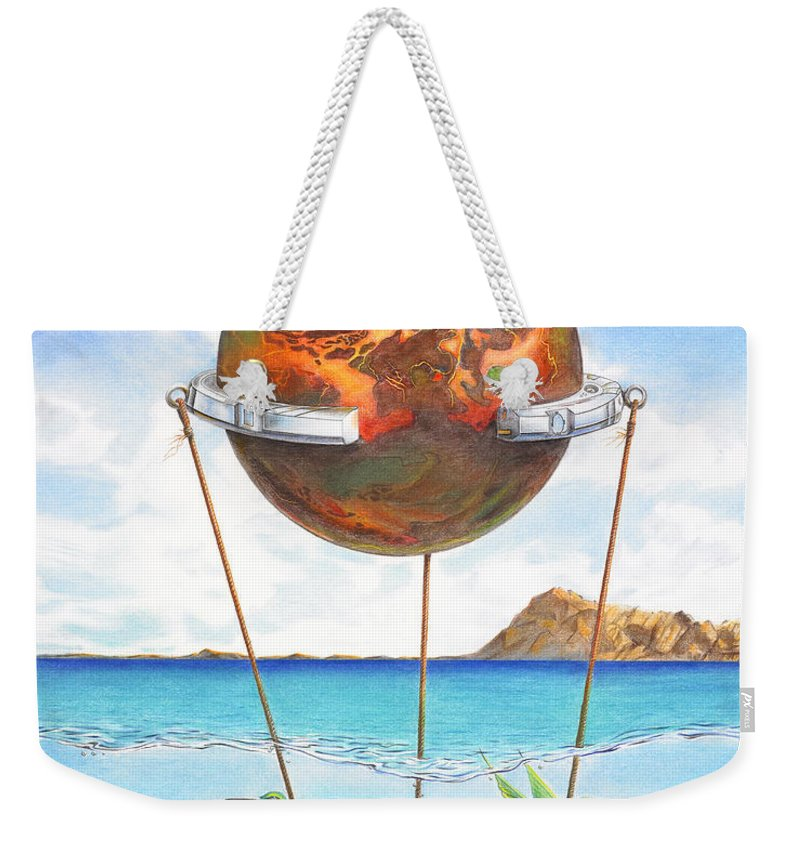 Surreal Weekender Tote Bag featuring the painting Tethered Sphere by Melissa A Benson