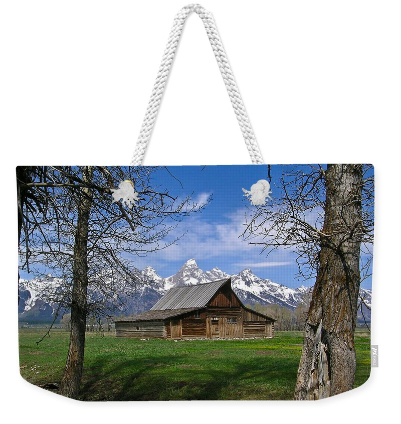 Teton Weekender Tote Bag featuring the photograph Teton Barn by Douglas Barnett