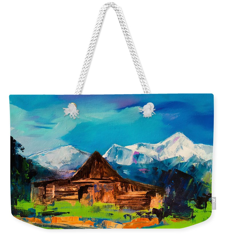 Barn Weekender Tote Bag featuring the painting Teton Barn by Elise Palmigiani