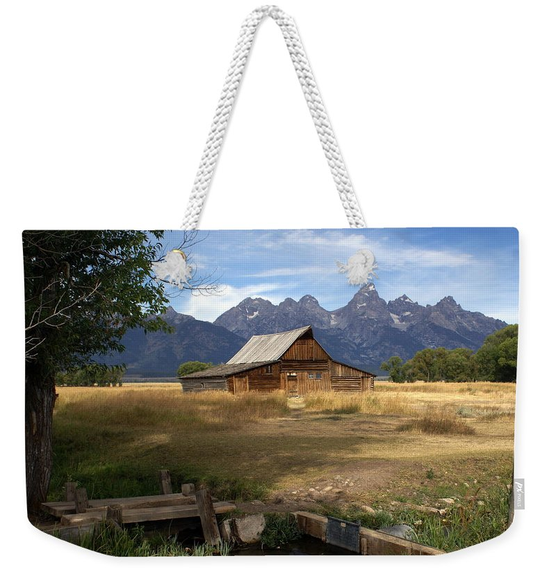 Grand Teton National Park Weekender Tote Bag featuring the photograph Teton Barn by Marty Koch