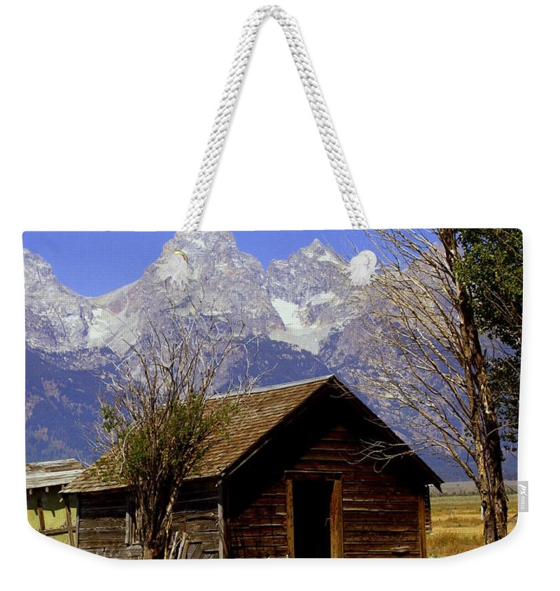 Grand Teton National Park Weekender Tote Bag featuring the photograph Teton Cabin by Marty Koch