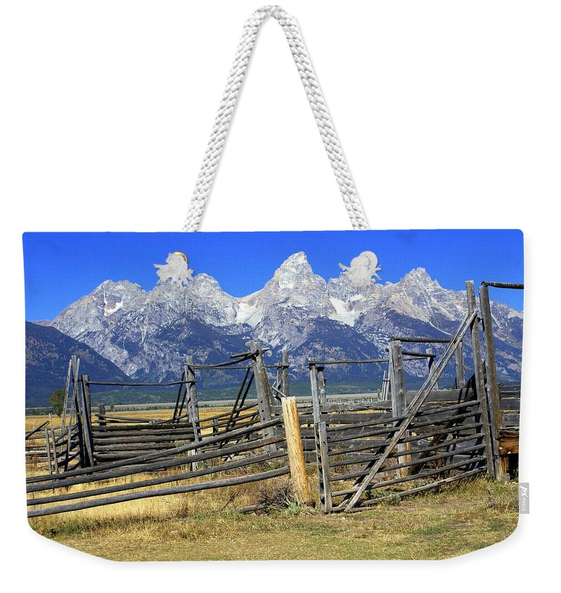 Grand Teton National Park Weekender Tote Bag featuring the photograph Teton Corral by Marty Koch