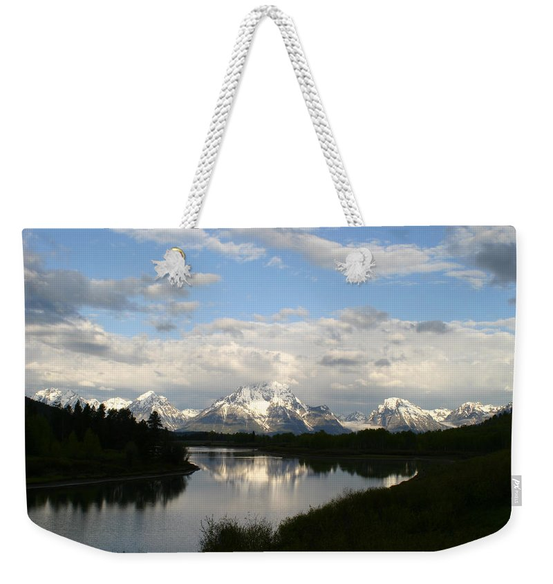 Grand Tetons Mountains Snow Capped National Park Nature Nature Snow Water Lake Sillouhette Skyline Weekender Tote Bag featuring the photograph Tetons At Dawn by Shari Jardina