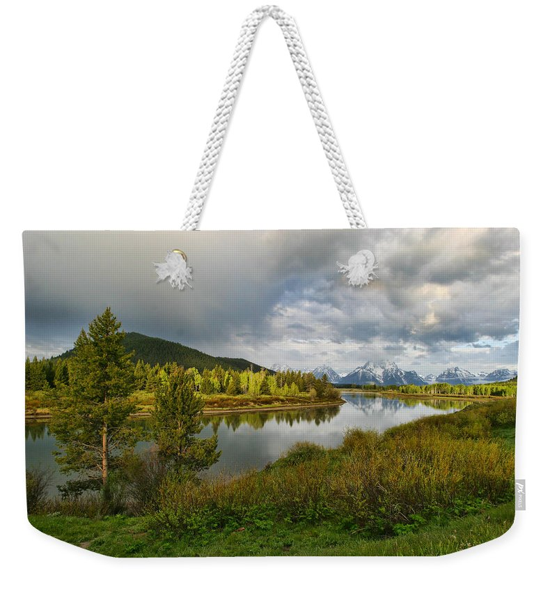 Mountains Grand Tetons National Park Snow Capped Water Lake Aspens Landscape Weekender Tote Bag featuring the photograph Tetons In The Distance by Shari Jardina