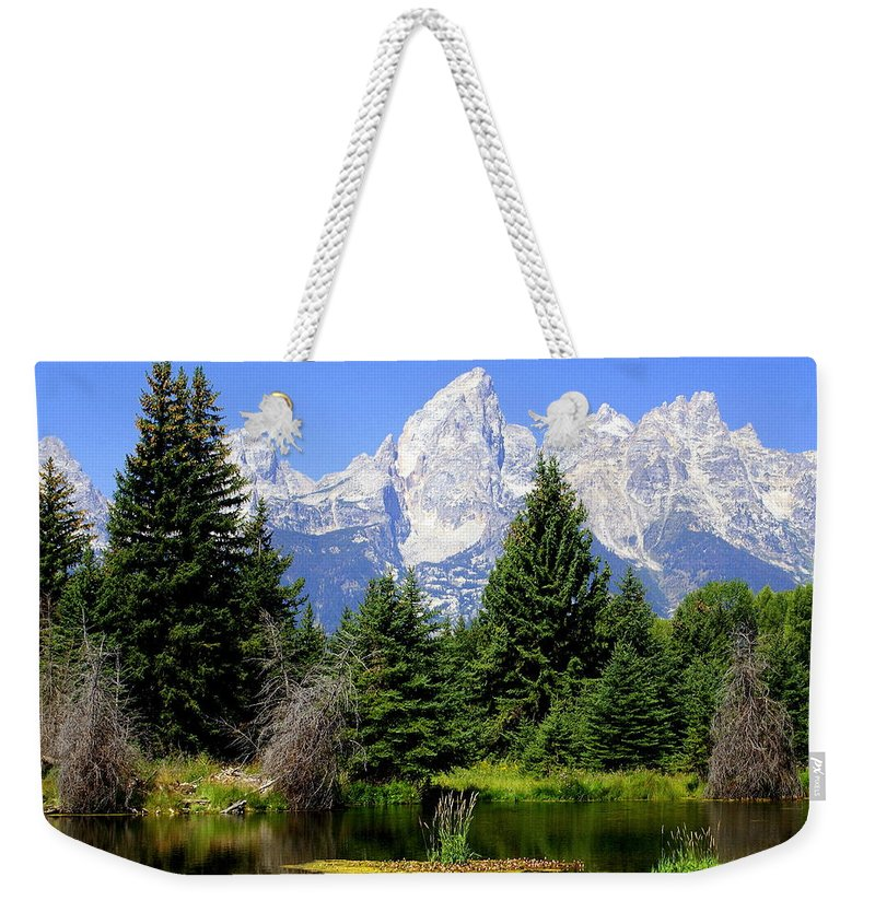 Grand Teton National Park Weekender Tote Bag featuring the photograph Tetons by Marty Koch