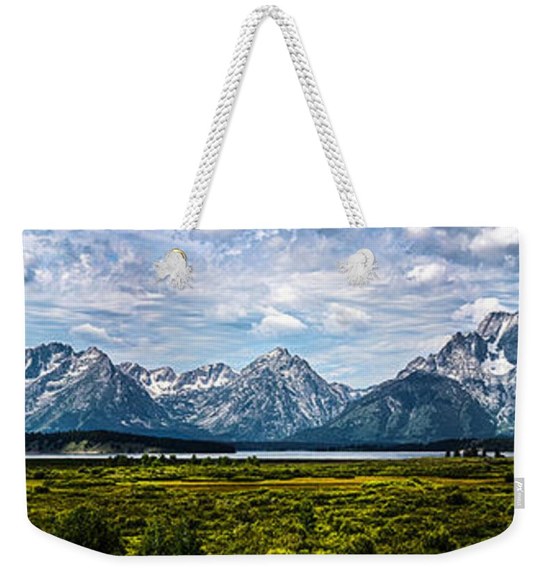 The Grand Tetons Weekender Tote Bag featuring the photograph Tetons - Panorama by Shane Bechler