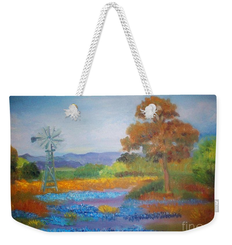 Texas Weekender Tote Bag featuring the painting Texas Bluebonnets by Sandra McClure