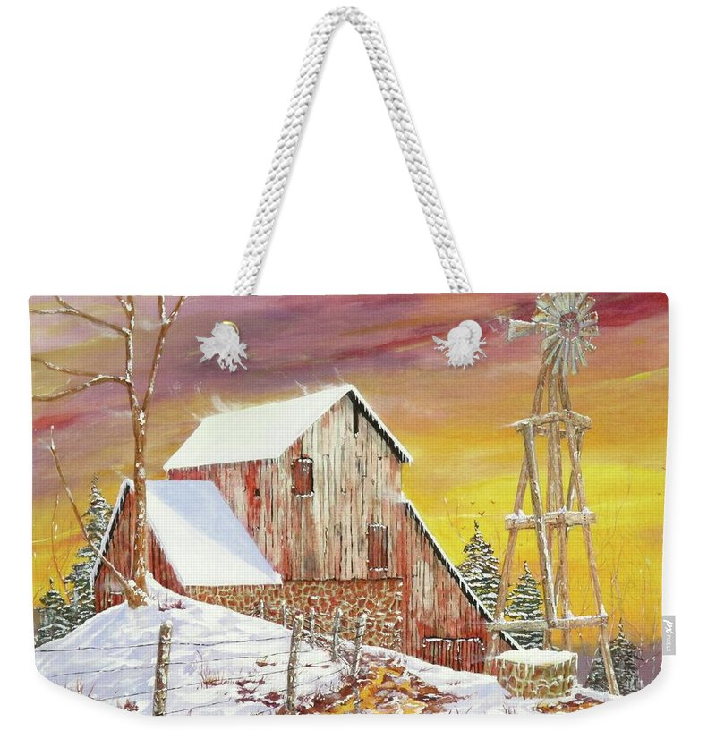 Texas Weekender Tote Bag featuring the painting Texas Coldfront by Michael Dillon