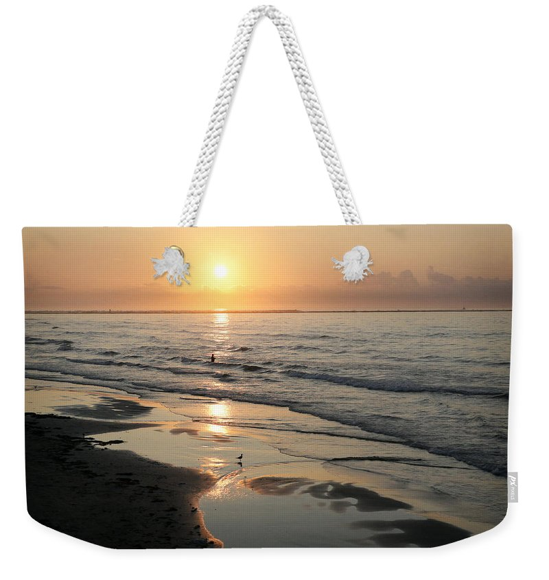 Water Weekender Tote Bag featuring the photograph Texas Gulf Coast At Sunrise by Marilyn Hunt
