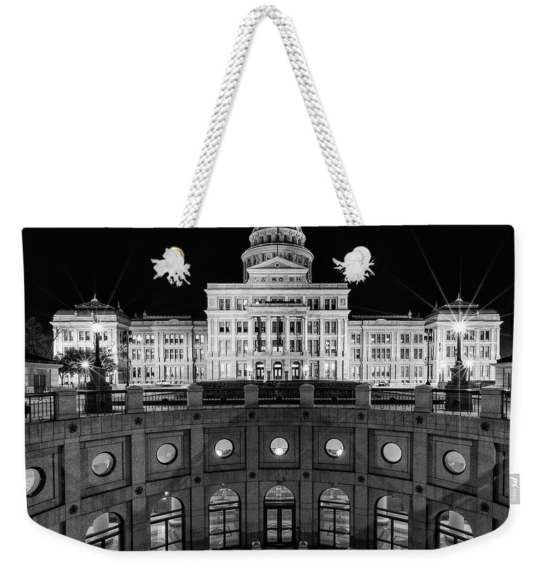 Austin Weekender Tote Bag featuring the photograph Texas State Capitol - Bw Square by Stephen Stookey
