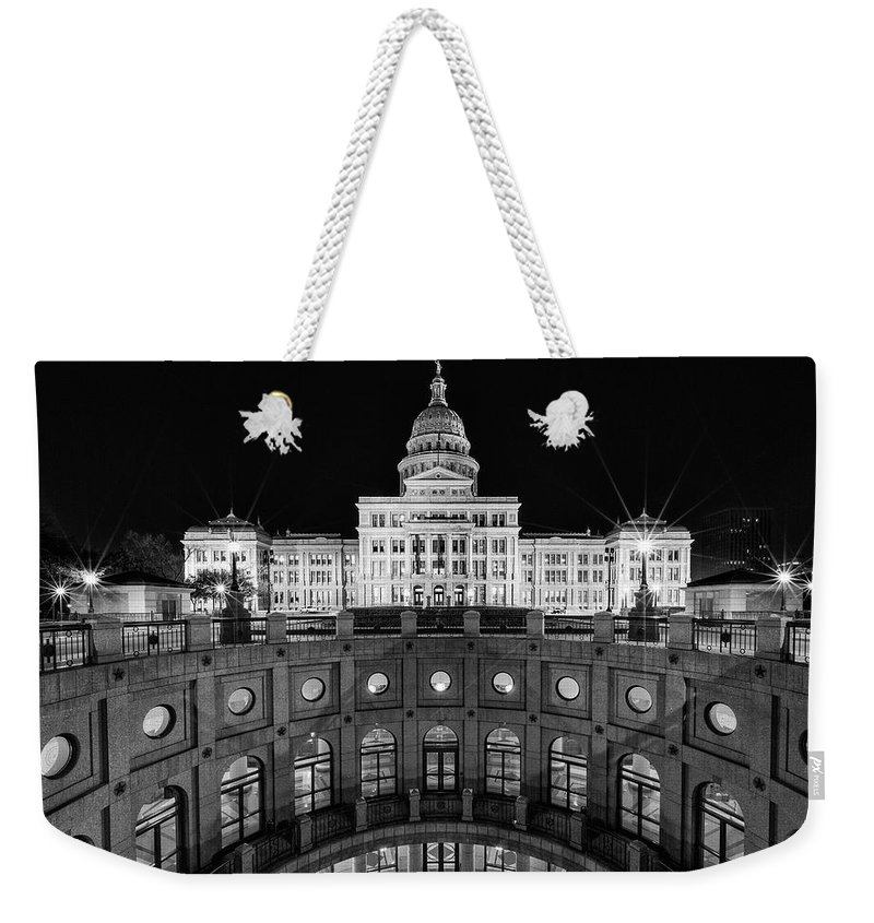 Austin Weekender Tote Bag featuring the photograph Texas State Capitol - Bw by Stephen Stookey