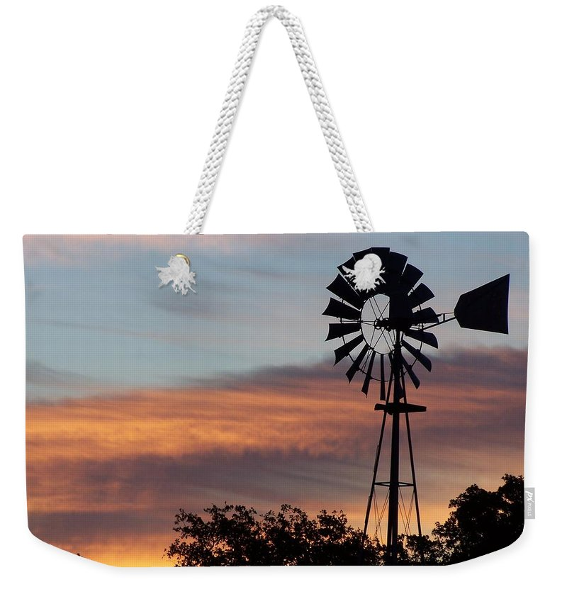 Windmill Weekender Tote Bag featuring the photograph Texas Sunrise by Gale Cochran-Smith