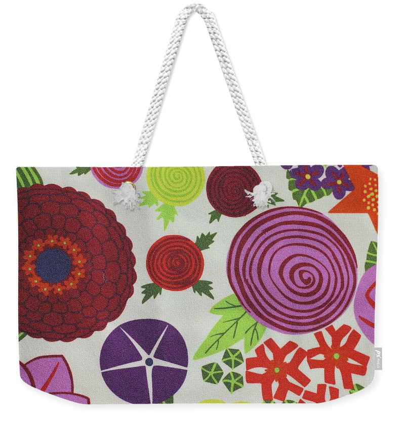 Texture Colored Fabric Texture Colored Fabric Geometric Figures Summer Flowers Background Circles Colored Colorful Summer Weekender Tote Bag featuring the photograph Texture Of Colored Fabric by Yevhenii Stefaniuk