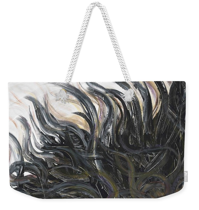 Texture Weekender Tote Bag featuring the painting Textured Black Sunflower by Nadine Rippelmeyer