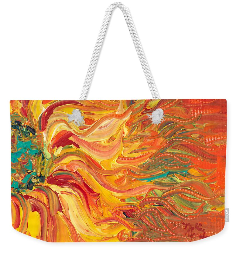 Sunjflower Weekender Tote Bag featuring the painting Textured Fire Sunflower by Nadine Rippelmeyer