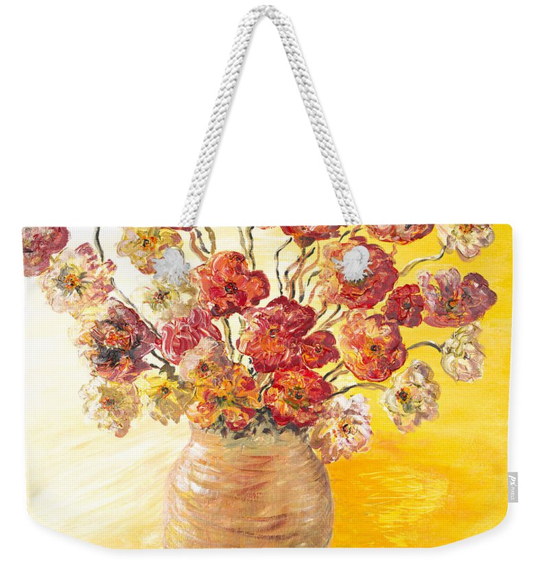 Flowers Weekender Tote Bag featuring the painting Textured Flowers In A Vase by Nadine Rippelmeyer