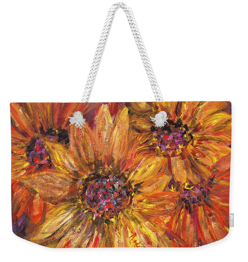 Yellow Weekender Tote Bag featuring the painting Textured Gold and Red Sunflowers by Nadine Rippelmeyer