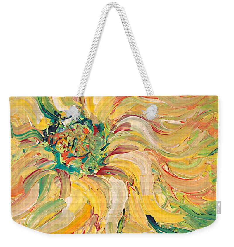 Texture Weekender Tote Bag featuring the painting Textured Green Sunflower by Nadine Rippelmeyer