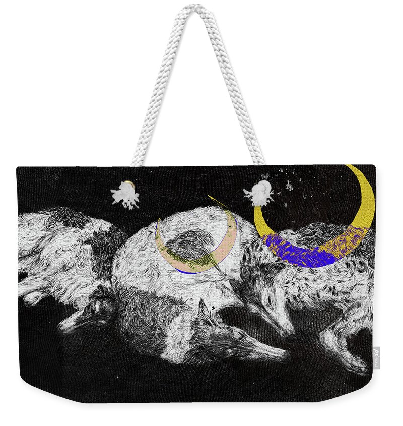 Artwork Weekender Tote Bag featuring the drawing Textured Night For Borzoi Dogs by Elizaveta Mikheeva
