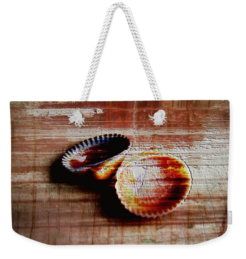 Seashells Weekender Tote Bag featuring the photograph Textured Shells by Linda Sannuti