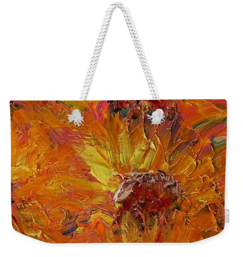 Sunflowers Weekender Tote Bag featuring the painting Textured Sunflowers by Nadine Rippelmeyer