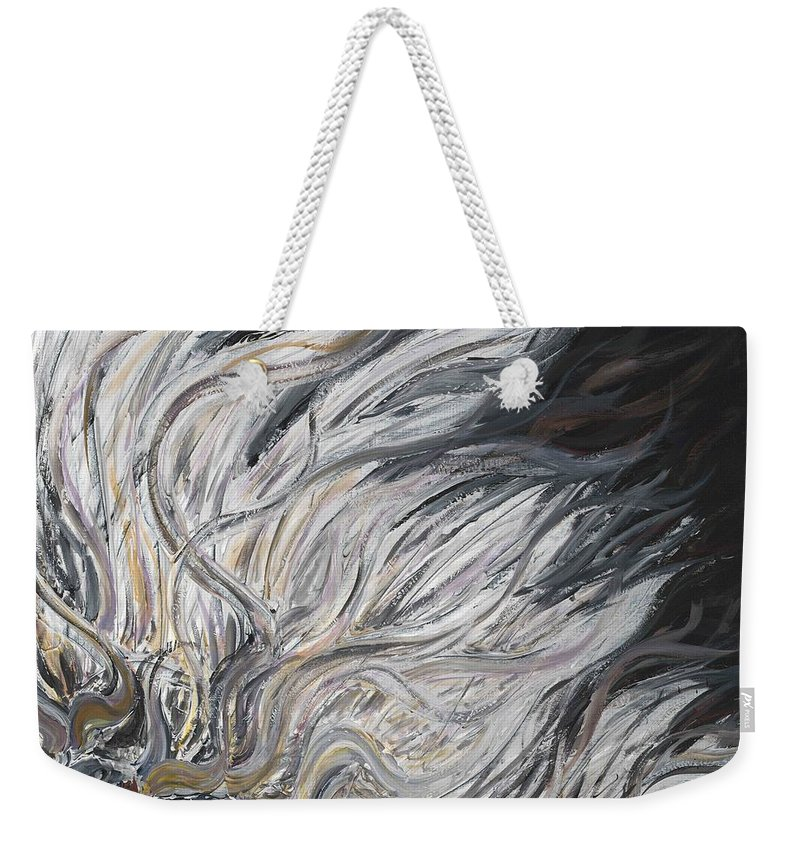 White Weekender Tote Bag featuring the painting Textured White Sunflower by Nadine Rippelmeyer