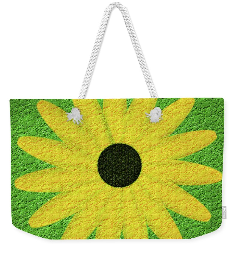 Flower Weekender Tote Bag featuring the digital art Textured Yellow Daisy by Smilin Eyes Treasures