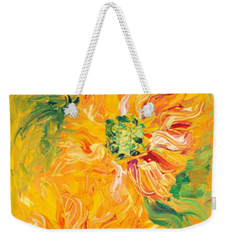 Yellow Weekender Tote Bag featuring the painting Textured Yellow Sunflowers by Nadine Rippelmeyer