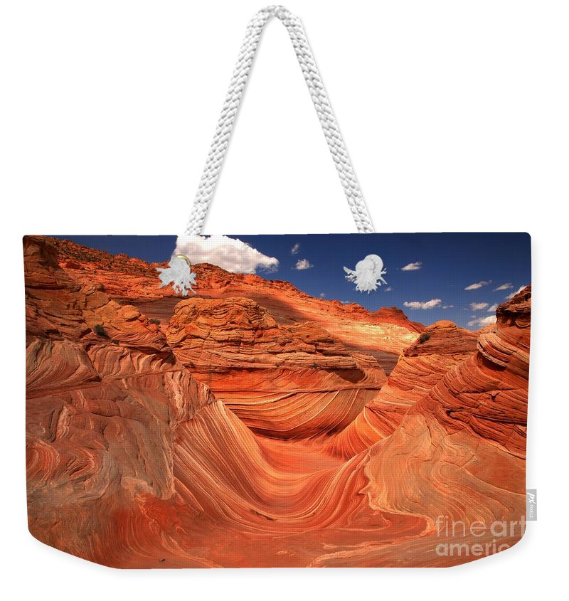 The Wave Weekender Tote Bag featuring the photograph Textures Lines And Clouds At The Wave by Adam Jewell