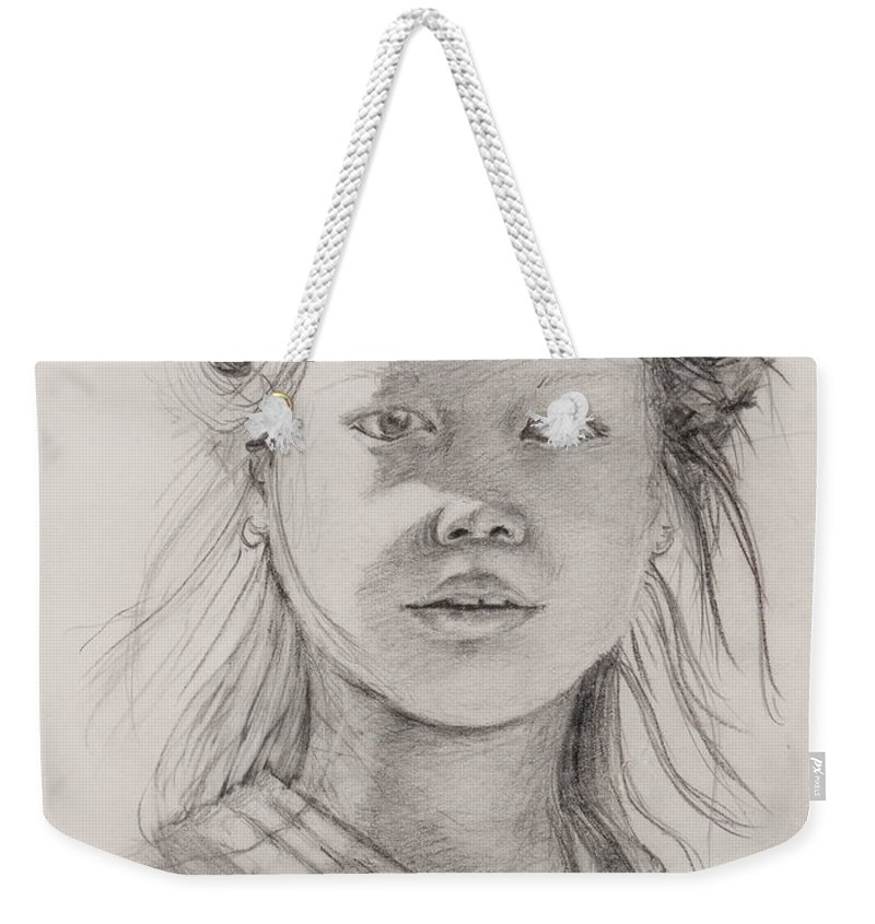 Portrait Weekender Tote Bag featuring the drawing Thai Beauty by Nadine Rippelmeyer