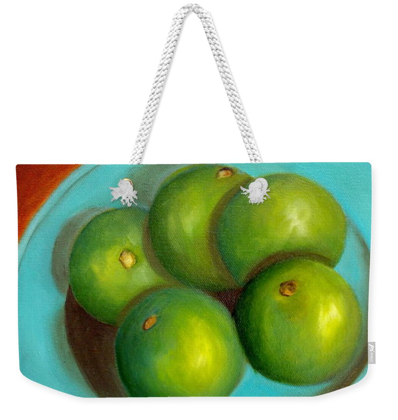 Limes Weekender Tote Bag featuring the painting Thai Limes - Sold by Susan Dehlinger