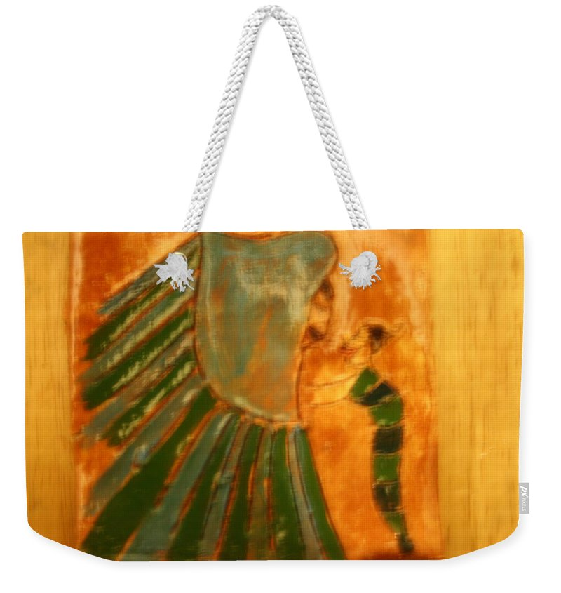 Jesus Weekender Tote Bag featuring the ceramic art Thanks Jaaja - Tile by Gloria Ssali
