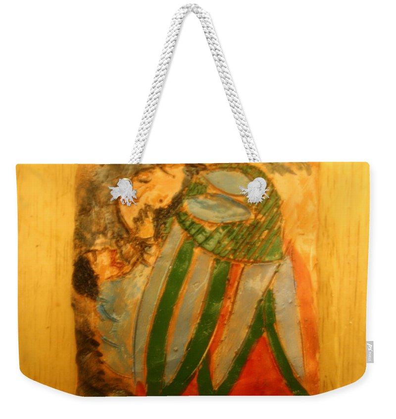 Jesus Weekender Tote Bag featuring the ceramic art Thanks Mum - Tile by Gloria Ssali