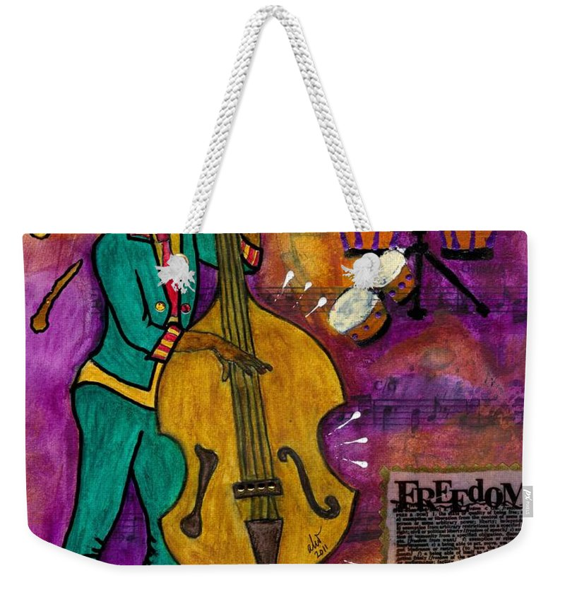 Greeting Cards Weekender Tote Bag featuring the mixed media That Sistah On The Bass by Angela L Walker