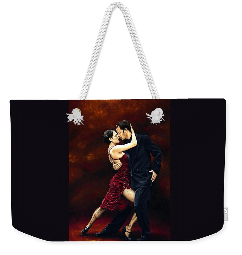 Tango Weekender Tote Bag featuring the painting That Tango Moment by Richard Young
