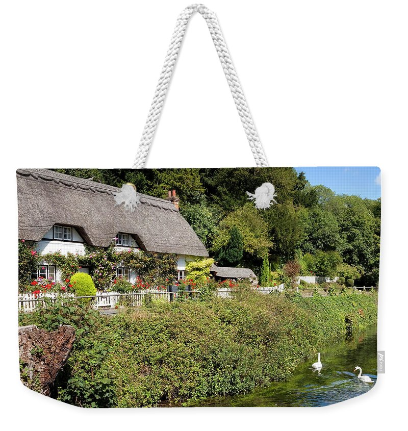 Cottage Weekender Tote Bag featuring the photograph Thatched Cottages Of Hampshire 16 by Shirley Mitchell