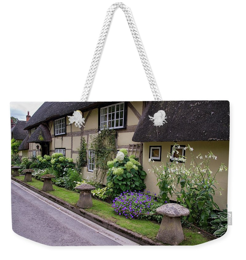 Cottage Weekender Tote Bag featuring the photograph Thatched Cottages Of Hampshire 24 by Shirley Mitchell