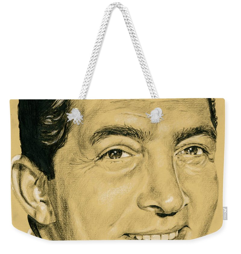 Dean Martin Weekender Tote Bag featuring the drawing That's Amore by Rob De Vries