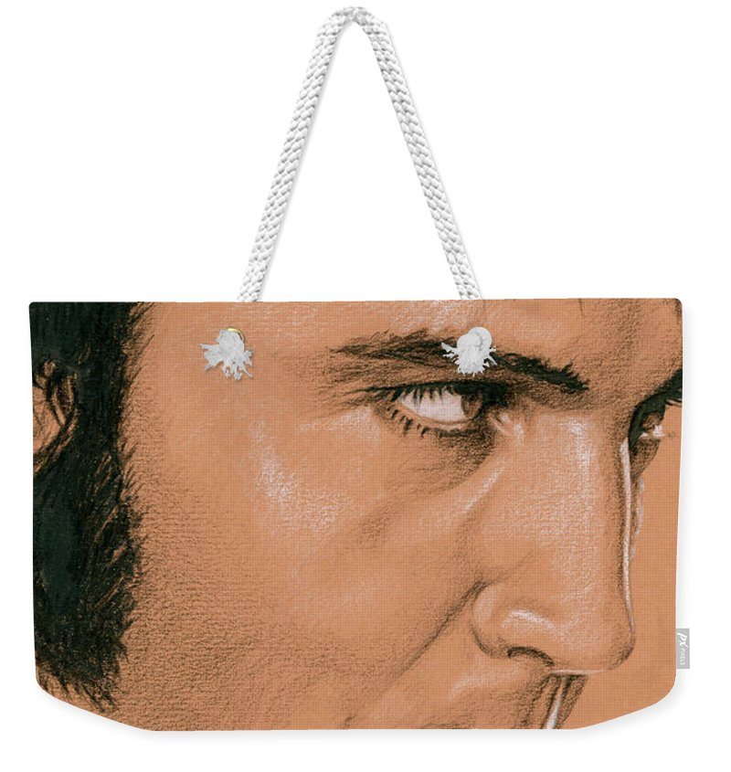 Elvis Weekender Tote Bag featuring the drawing That's The Way It It Rehearsals II by Rob De Vries