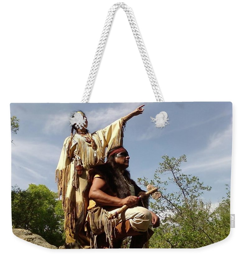 Indian Maiden Scout Indians Weekender Tote Bag featuring the photograph Thats Where I Saw The White Man by Cindy New