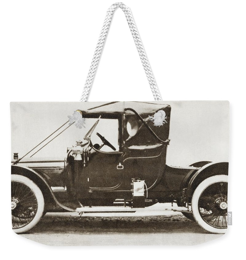 Ascot Weekender Tote Bag featuring the drawing The 1910 Austin Ascot Car. From The by Vintage Design Pics
