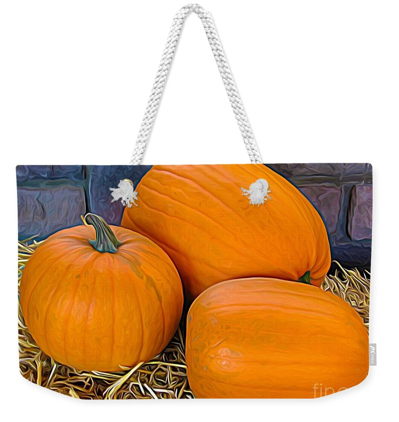 The 3 Amigo Pumpkins Expressionist Effect Weekender Tote Bag featuring the photograph The 3 Amigo Pumpkins Expressionist Effect by Rose Santuci-Sofranko