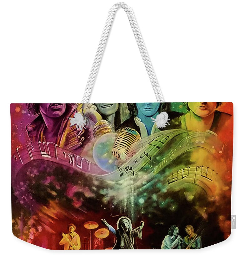Hendrix Weekender Tote Bag featuring the painting The 4js by DC Houle