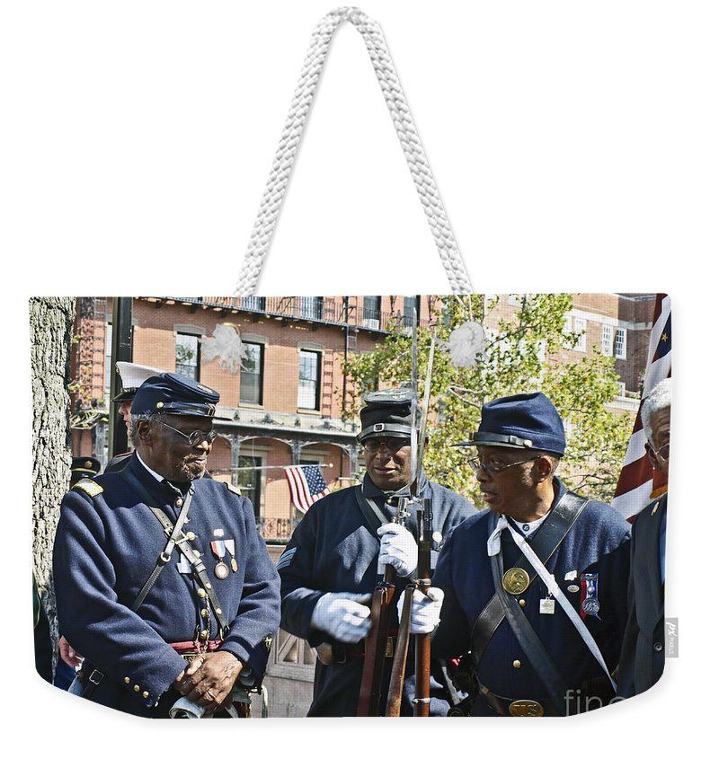 54th Regiment Weekender Tote Bag featuring the photograph The 54th Regiment Bos2015_185 by Howard Stapleton