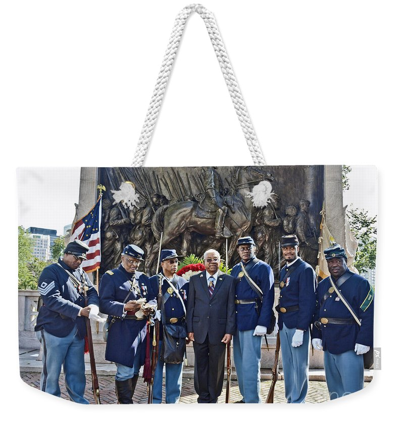 54th Regiment Weekender Tote Bag featuring the photograph The 54th Regiment Bos2015_191 by Howard Stapleton
