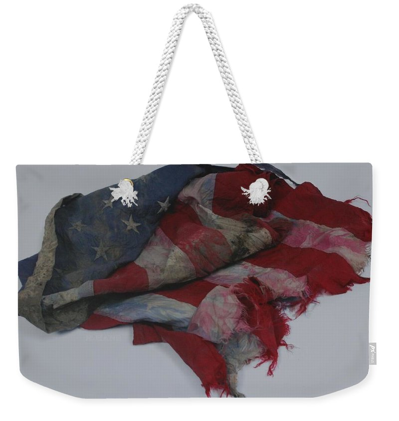 911 Weekender Tote Bag featuring the photograph The 9 11 W T C Fallen Heros American Flag by Rob Hans